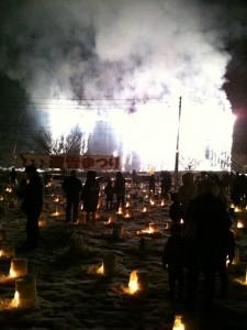 雪の中の、ナイアガラ花火!
