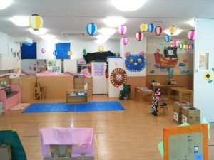 アスクセンター北保育園、夏まつりの出店準備中。
