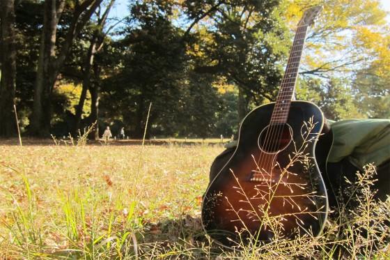 23_代々木公園とマイギター(Gibson-J45)