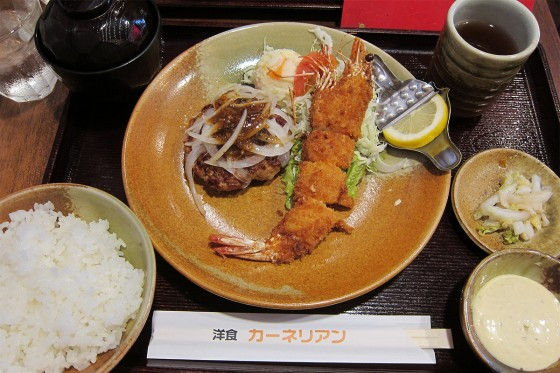 12_エビフライ&ハンバーグ定食