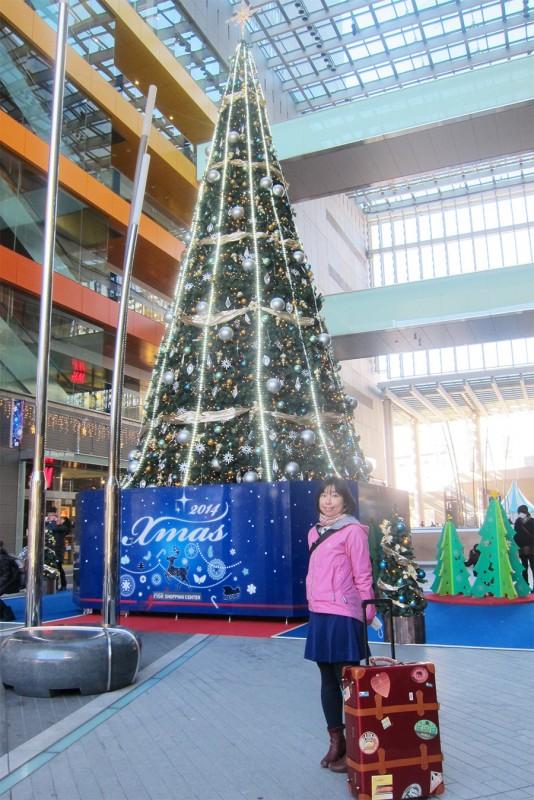 14_二子玉川駅のクリスマスツリーとサヤカ