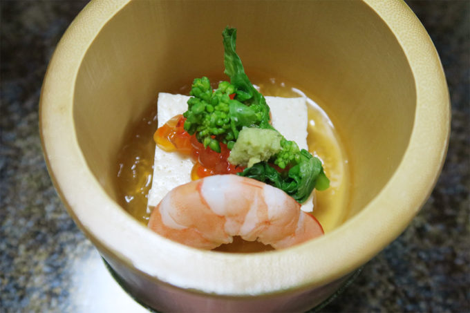 36_湯葉豆腐と菜花とエビ