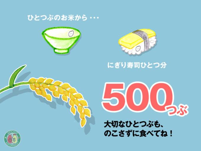 お込めひと粒から500粒が育つ