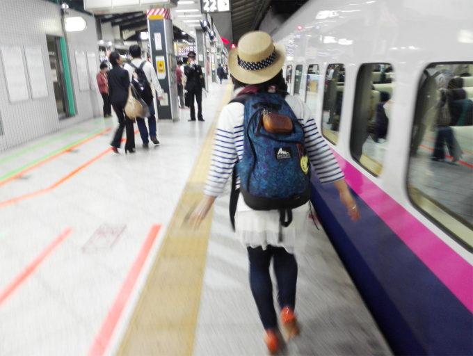 東京駅、新幹線に飛び乗る!