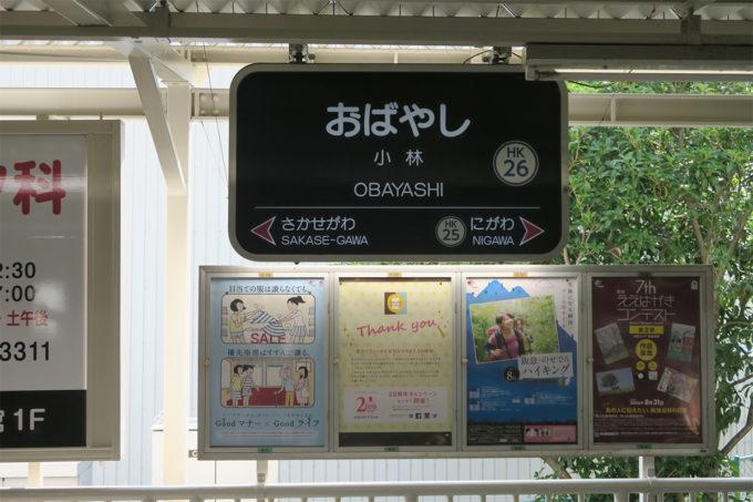 小林(おばやし)駅に到着